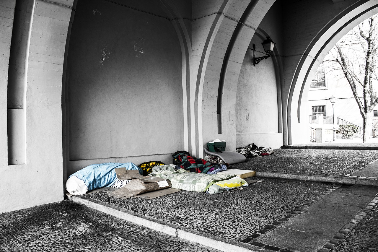 Rough sleepers on a covered walkway
