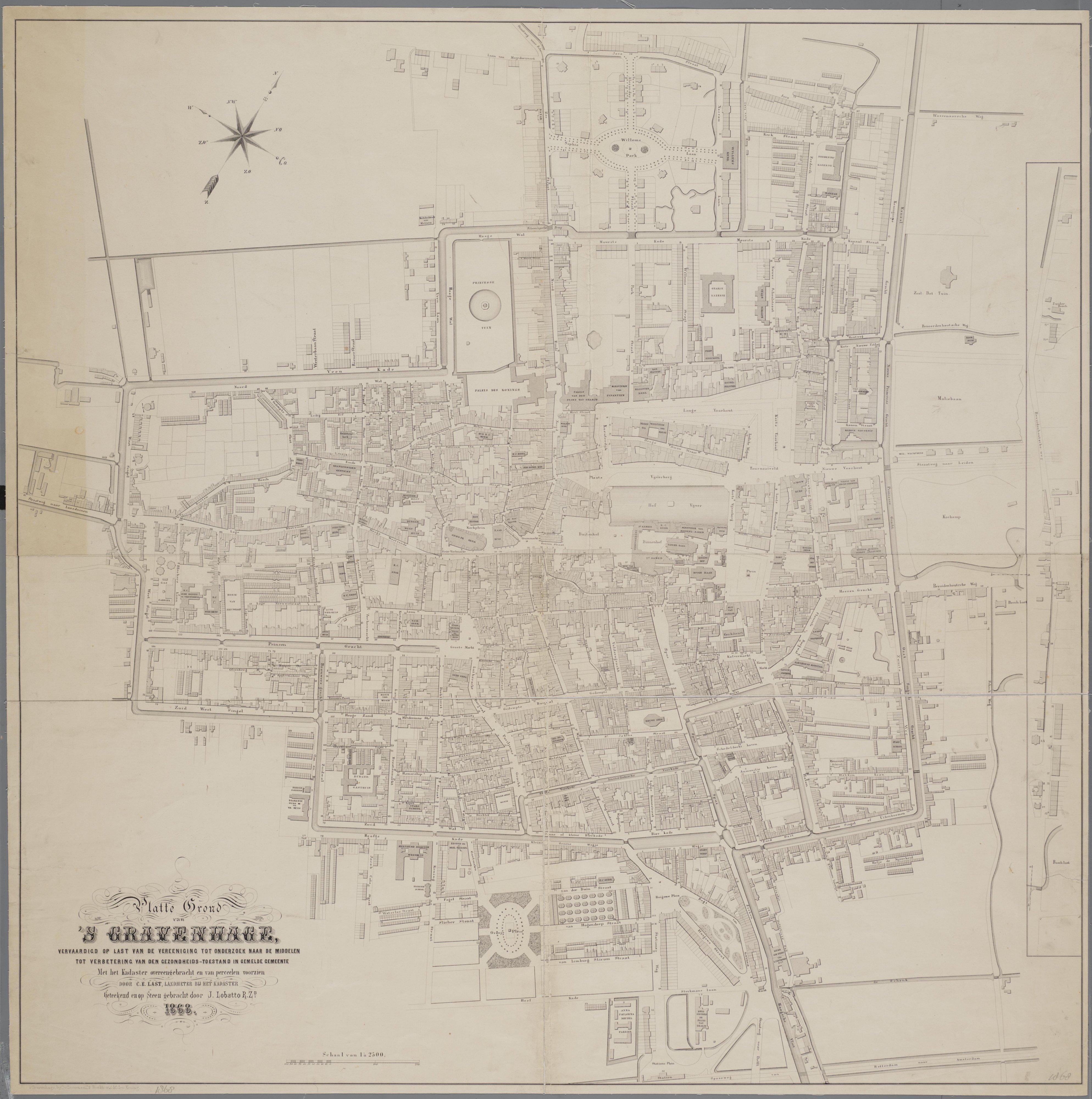 Stadsplattegrond van Lobatto en Last uit 1868, bron: Haagse Gemeente Archief