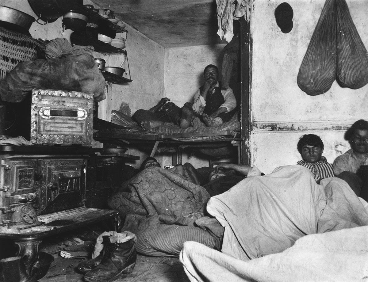 Jacob Riis Lodgers in a Crowded Bayard Street Tenement